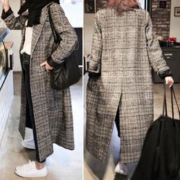 e54ef7796d9 Women plaid long coat long sleeve woollen overcoat loose outwear female  winter autumn trench coats plus size C18110601