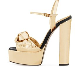 Platform thick high heel gold shoes online shopping - Hot Selling Gold Metallic Leather Platform Thick Heels Sandal for Woman Butterfly knot Decorations Ankle Strap Dress Shoes