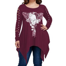 5331d482810 Women tops tees 2018 NEW SKULL printed hollow out long sleeves plus size  xl-5xl casual punk style femme clothing WS6183y