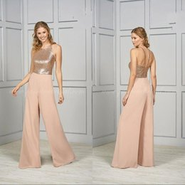 silver sequin jumpsuits 2019 - Sequined Jumpsuit For Bridesmaid Sleeveless Backless Ankle Length Wedding Guest Gown Empire Shining Prom Wear Dress chea