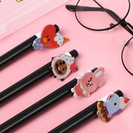 $enCountryForm.capitalKeyWord Australia - Favorite Super popular K-POP BTS BT21 Ballpoint Pen 0.5mm TATA Chimmy Black Ink Gel Pen Korean Stationery Signature