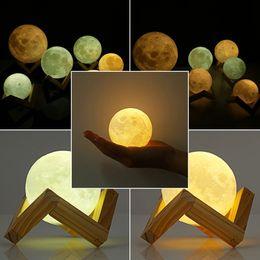 3D السحري مصباح القمر 2018 3D السحري الصمام لونا ليلة ضوء القمر مصباح مكتب USB شحن لمسة تحكم هدية