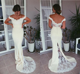 $enCountryForm.capitalKeyWord NZ - Off-the-shoulder White Evening Dresses 2019 New Sexy Sweep Train Backless Mermaid Lace Formal Prom Party Gowns Hot Selling Custom Made E008