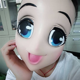 Wholesale Halloween Cos Cartoon Mask Lovely Masquerade Party Beauty Full Face Masks Anime Blue Eyed Latex Head Cover ac Ww
