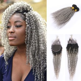 dark grey hair dye Canada - Ombre 1B Grey Color Kinky Curly Hair Weaves With Lace Closure Dark Roots Grey afro Curly 3Bundles Extensions With Closure 4x4