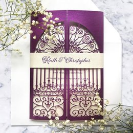 Wholesale Laser Wedding Invite Spring Purple Shimmy Hollow Wedding Party Invitation Set with Belly Band Free Printing