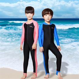 $enCountryForm.capitalKeyWord Australia - Children Long-sleeved Diving Suit Elastic Warm Swimsuit Kid's Outdoor Beach Surfing UV-proof Jumpsuit Swimwear Boy Girls WetSuit with Zip