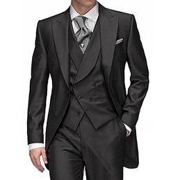 Hot Recommend Dark Grey Tailcoat Groom Tuxedos Morning Style Men Wedding Wear Men Formal Dinner Prom Party Suit(Jacket+Pants+Tie+Vest) 1108