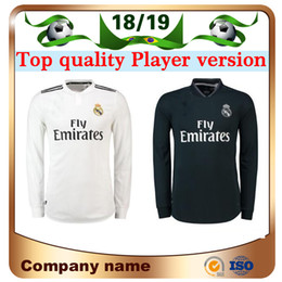 b8165811ed1 18 19 Real Madrid Player version Long Sleeve Champions League Soccer Jersey  2019 Home RAMOS KROOS ISCO ASENSIO MODRIC MARCELO football shirt