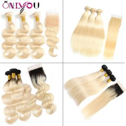 1b 613 closure online shopping - OnlyouHair B Omber Blonde Human Hair Bundles with Lace Closure Frontal Brazilian Virgin Straight Body Wave Human Hair Weaves Extension