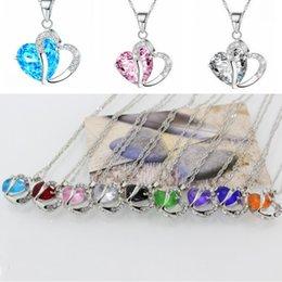 Joyería de moda 10 colores Zirconia collar azul cristal Rhinestone corazón collar colgantes con cadena accesorios del banquete de boda D294LR en venta