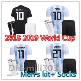 66d1f0e8bd6 2018 World Cup Argentina Kit with socks MESSI AGUERO Soccer Jersey 18 19 DI  MARIA DYBALA Higuain Home and away jersey uniform football shirt