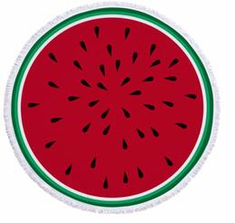 3de21e2f74 2018 Donut Pizza Pineapple Large Round Microfiber Beach Towel Circle  Tassels Watermelon Hamburger Cotton Bath Mat Serviette 0088