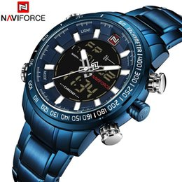 $enCountryForm.capitalKeyWord Australia - NAVIFORCE Men Watch Digital Quartz Dual Movement Sport Male Clock Top Brand Luxury Military Stainless Steel LED Wristwatch 9093 S923