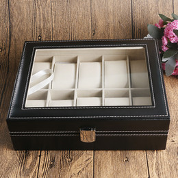 Big Storage Boxes Australia - Good Luxury Holder Foam Pad Pillow Elegant Big Organizer Black Leather Watch Jewel Box for Wristwatches Gift Box Storage Exquisite