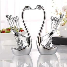 $enCountryForm.capitalKeyWord NZ - Luxury High-grade silver cutlery flatware set spoon fork tea spoon stainless steel Swan dinnerware set kitchen utensil 057