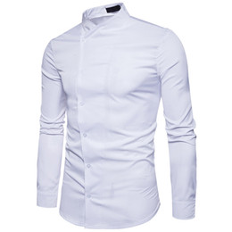 Discount led shirt xl - And Winter New Pattern Fashion Solid Color Joker Long Sleeve Man Personality Oblique Placket Leisure Stand Lead European