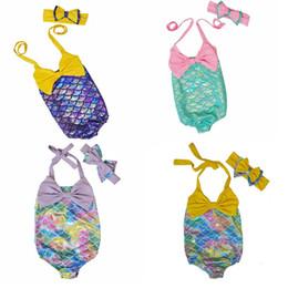 c305d89aa4500 Kids swimwear one piece children swimsuit girls mermaid bathing suit cute  bikinis mayo headwear bow baby swimming clothing set to690