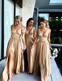 Junior Plus Size Wedding Guest Dresses NZ - Flowy Gold Long Bridesmaid Dresses With Sexy Slit 2018 V-neck Plus Size High Waist Beach Garden Outdoor Wedding Guest Junior Dress