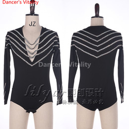 latin suits NZ - Latin Dance Men Tops Costume Performance Competition Suit Sparkling Diamond Customized Long Sleeves T-shirt Rumba Salsa Tango Chacha Boy Top