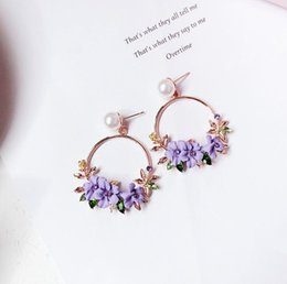 $enCountryForm.capitalKeyWord NZ - 2018 Latest Fashion South Korea Flower Floral Hoop Earrings Gold Filled Crystal Earring Charms Jewelry 5x3cm