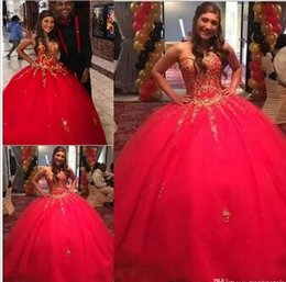 e21761517 Girls Sweet 16 Red Quinceanera Dresses Pageant With Gold Appliques Beading  2018 Puffy Ball Gown Vestidos De 15 Anos Formal Dress Prom Gowns