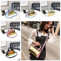 Cross bags for girls online shopping - Girls Hologram Laser Handbag Transparent Candy Shoulder Bag Waterproof Beach Bag for Women Travel Shopping Bags GGA354