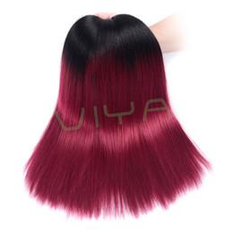 brazilian hair piece 14 18 inch 2019 - VIYA Ombre Brazilian Straight Virgin Human Hair Extensions 2 Two Tone 1b Burgundy Red Grade 9A Ombre Brazilian Hair Weav