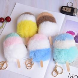 $enCountryForm.capitalKeyWord Australia - Summer new imitation Rex rabbit hair ice cream pendant hit color plush ice cream simulation ice cream key chain bag pendant