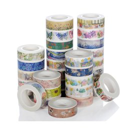Wholesale 2016 mm x m Colorful Flowers Plants Decorative Adhesive Tape Masking Washi Tape DIY Scrapbooking Sticker Label School Office Supply