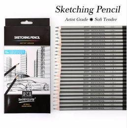 En İyi Kalite 12/24 Adet 9 H-14B Set Çizim Eskiz Kalem Yumuşak Güvenli toksik Olmayan Standart Kalemler Profesyonel Ofis Okul Kalem