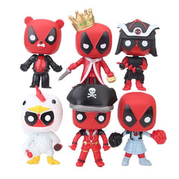 Discount deadpool figures - DHL 6 Style Deadpool 2 Plastic Doll toys 2018 kids toys 10cm funko pop avenger Cartoon pirate king Duck bear Action Figu