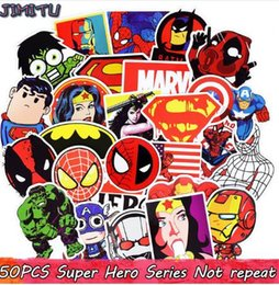 Wholesale 50pcs Mixed Super Hero Stickers Funny JDM Kids Toy Sticker for DIY Luggage Laptop Skateboard Motorcycle Phone Waterproof Sticker