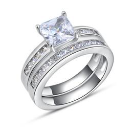 Luxo Quadrado Anel De Cristal Austríaco, Moda Prata com Platinadas, Moda Jóias de Prata Anéis Atacado OR28