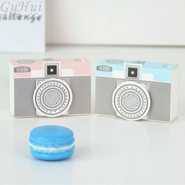 theme party supplies wholesale 2019 - 50Pcs European Travel Theme Blue and Pink Camera Candy Box Paper Craft Birthday Baby Shower Supplies Wedding Party Favor