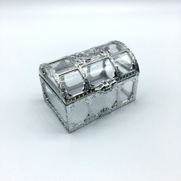 100pcs Free shipping top grade golden silvery transparent plastic treasure chest wedding candy box gift boxes lin3736