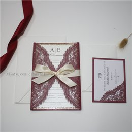 $enCountryForm.capitalKeyWord Canada - BURGUNDY LACE Laser Cut Wrap Invitation - Wedding Invitation with White Shimmer Insert, White Ribbon Bow And Envelope