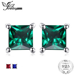 sapphire studs earrings UK - JewelryPalace Hot Sale Square Created Sapphire Emerald Ruby Authentic 925 Sterling Silver Stud Earrings Jewelry Women Fashion