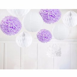 Paper flower kits australia new featured paper flower kits at best 9pcs purple white lilac theme kit paper decoration paper pom pom crafts flower home hanging outdoor party decoration mightylinksfo
