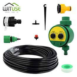 Drip System Hose NZ - 1 Set Of 5M Automatic Sprinkler System Drip Irrigation Hose Irrigation Pipe Fountain Nozzles Saving Garden System