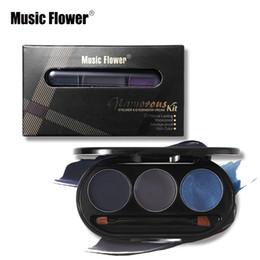 Gel Eyes Liner Australia - Music Flower Eye Make Up 3 Color Eyeliner& Eyeshadow Cream Kit Matte Waterproof Long-lasting Eye Liner Gel Makeup Shimmer Shadow