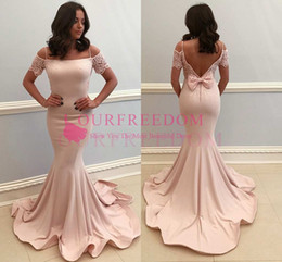 elegant evening dresses sleeves back Canada - 2019 Elegant Short Sleeve Lace Prom Dresses Sexy Backless Mermaid Back Cover Bow Formal Evening Occasion Dresses Custom Made Hot Sale