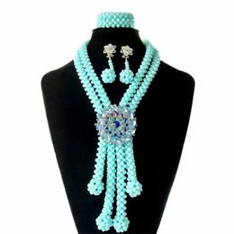 $enCountryForm.capitalKeyWord UK - Light Blue African Crystal Beads Jewelry Set Wedding Jewelry Bridal Necklace Nigerian Jewelry Set for Women Free Shipping