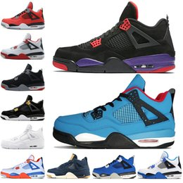 Mesh fire online shopping - 4 s Kaws Travis Scotts Cactus Jack Raptors Mens Basketball Shoes Eminem Denim Pure Money Royalty Bred Fire Red men sports sneakers designer