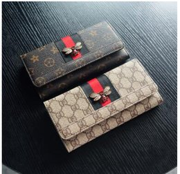 2018 Mode Damen Brieftaschen Aus Echtem Leder BIENEN Geldbörsen Frauen Geldbörsen Clutch Patchwork Brieftasche Kartenhalter Handytasche Geldbörse