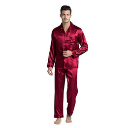 Wholesale onesies men for sale - Group buy Couple Silk Pajamas Set Men Stain Nightgown Lovers Sleepwear Slim Loungewear For Ladies Classic Style Drop Shipping