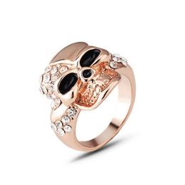 Discount skull ring sizes - Size 6 7 8 9 Elegant Gold Color Skull Zircon Ring For Women Female Punk Finger Ring Fashion Jewelry Gift