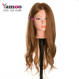 Human Hair mannequins online shopping - 40 Real Human Hair Training head dolls for hairdressers Mannequin Dolls blonde color professional styling head can be curled