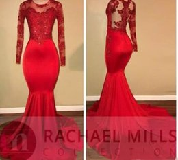 Red Embroidered Evening Dresses Australia - 2018 Vintage Sheer Long Sleeves Red Prom Dresses Mermaid Appliqued Sequined African Black Girls Evening Gowns Red Carpet Dress