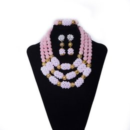 Coral Beads China Australia - Nigerian Wedding Jewelry Peach Color Coral Beads and Crystal Beads Women Beaded Necklace African Wedding Bridal Beads Jewelry Set YQ3-1